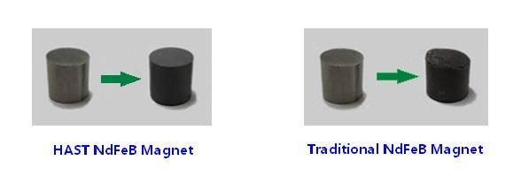 Comparison photos of neodymium magnets after HAST test